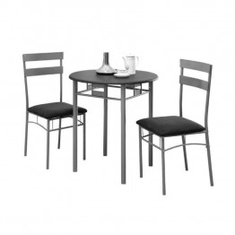Monarch 3 Piece Bistro Set in Black and Silver
