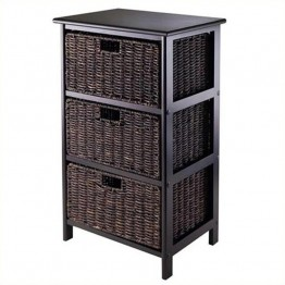 Winsome Omaha Storage Rack with 3 Foldable Baskets in Black