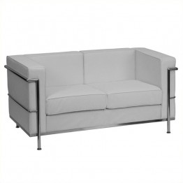 Flash Furniture Hercules Regal Leather Love Seat in White