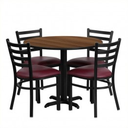 Flash Furniture 5 Piece Laminate Table Set Walnut and Burgundy