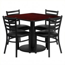 Flash Furniture 5 Piece Square Table Set in Black and Mahogany
