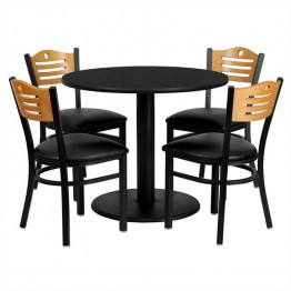 Flash Furniture 5 Piece Round Laminate Table Set in Black and Natural