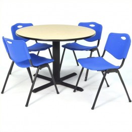 Regency Round Lunchroom Table and 4 Blue M Stack Chairs in Maple