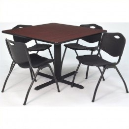 Regency Square Lunchroom Table and 4 Black M Stack Chairs in Mahogany