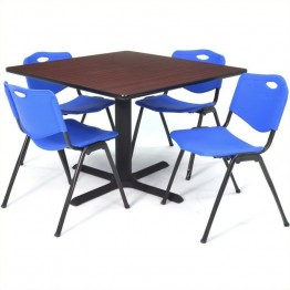 Regency Square Lunchroom Table and 4 Blue M Stack Chairs in Mahogany
