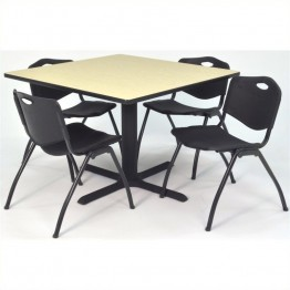 Regency Square Lunchroom Table and 4 Black M Stack Chairs in Maple