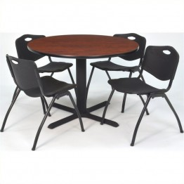 Regency Square Lunchroom Table and 4 Black M Stack Chairs in Cherry