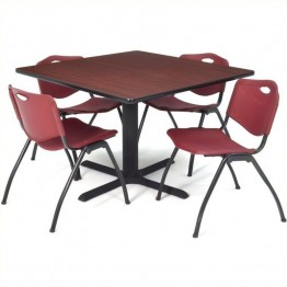 Regency Square Lunch Table and 4 Burgundy Stack Chairs in Mahogany