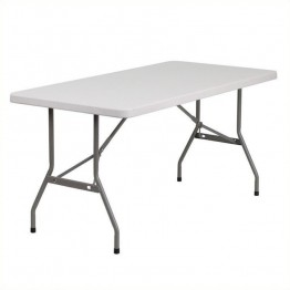 Flash Furniture Blow Molded Plastic Folding Table in White