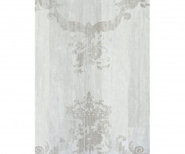 White Silver Damask Serenity Wallpaper