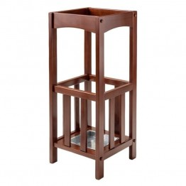 Winsome Rex Umbrella Stand with Metal Tray in Walnut