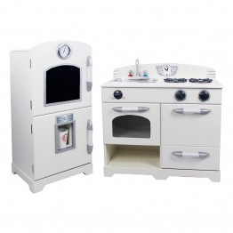Teamson Kids 2 Piece Retro Wooden Play Kitchen in White