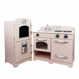 Teamson Kids 2 Piece Retro Wooden Play Kitchen in Pink