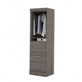 "Bestar Nebula 25"""" Storage Unit with 3 Drawer in Bark Grey"