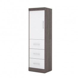 "Bestar Nebula 25"""" Storage Unit with 3 Drawer in Bark Grey and White"