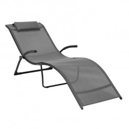 Sonax CorLiving Riverside Reclined Lounger In Black and Silver Grey