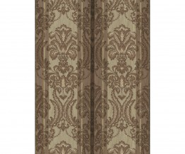 Ornated Floral Damask Stripes Brown 5781-27 Wallpaper