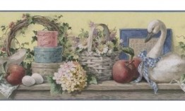 Grey Swan Floral Basket 5810597 Wallpaper Border
