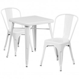 Flash Furniture Metal 3 Piece Bistro Set in White