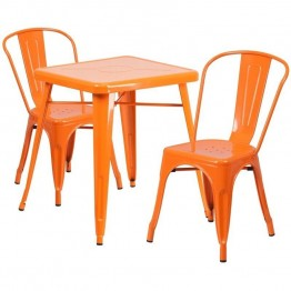 Flash Furniture Metal 3 Piece Bistro Set in Orange