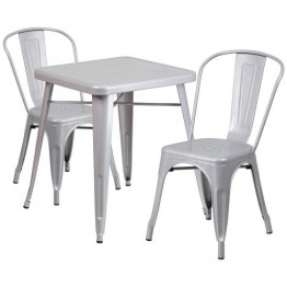 Flash Furniture Metal 3 Piece Bistro Set in Silver