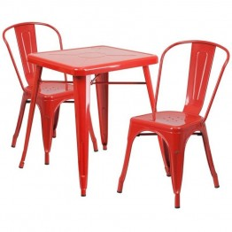 Flash Furniture Metal 3 Piece Bistro Set in Red