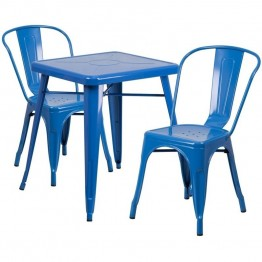 Flash Furniture Metal 3 Piece Bistro Set in Blue