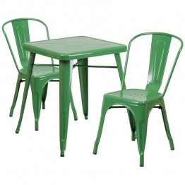Flash Furniture Metal 3 Piece Bistro Set in Green