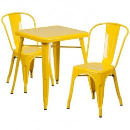 Flash Furniture Metal 3 Piece Bistro Set in Yellow