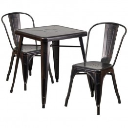 Flash Furniture Metal 3 Piece Bistro Set in Black-Antique Gold