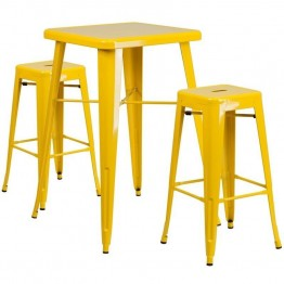 Flash Furniture Metal 3 Piece Bar Table Set in Yellow