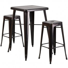 Flash Furniture Metal 3 Piece Bar Table Set in Black-Antique Gold