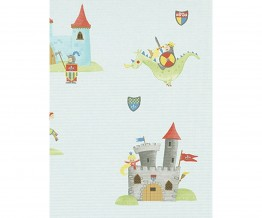 Horse Castle Flags Green Blue Grey 7328-08 Wallpaper