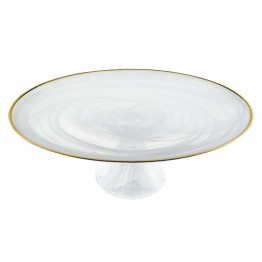 White Alabaster with Gold Trim Footed Cake plate