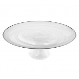 White Alabaster with Silver Trim Footed Cake plate