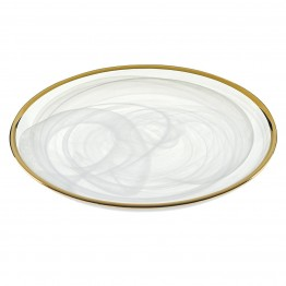 White Alabaster with Gold Trim Plates 4 Pc Set