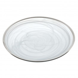 White Alabaster with Silver Trim Plates 4 Pc Set