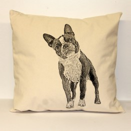 Boston Terrier Decorative Pillow Large