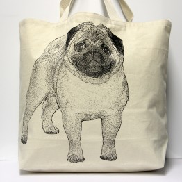 Pug Tote Bag Large