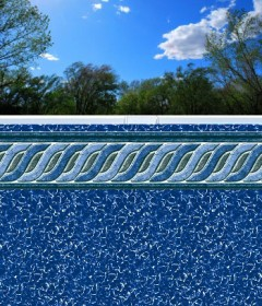 12' X 32' Oval Emerald Tile EZ Bead Swimming Pool Liner
