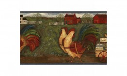 Blue Country Roosters GG54141 Wallpaper Border