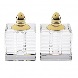 Pinstripes Square Salt & Pepper with Gold Tops
