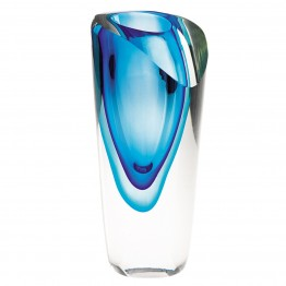 Azure Mouth blown Murano Style Vase 7.5 in.