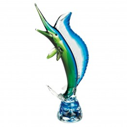 Murano style Art Glass Blue and Green Marlin