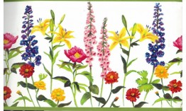 Colourful Gardened Flowers KBE12571 Wallpaper Border