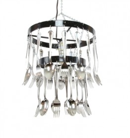 Round Bar Two Tier Fork and Spoon Chandelier