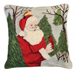Santa with Birds 18x18 Needlepoint Pillow