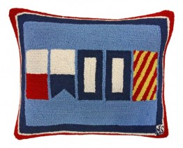 Nautical Happy 16x20 Hooked Pillow