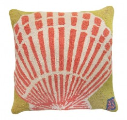 Scallop Seashell 18x18 Hooked Pillow