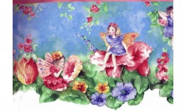 Little Angels Red Blue Flowers NGB76796 Wallpaper Border